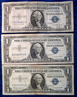 LOT OF 3 ~ $1 Silver Certificates Blue Seal 1935F 1957A 1957B Avg ...
