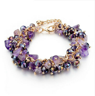 Women Purple Natural Stone Beads Crystal Charm Bracelets Gold Chain Bangle Cuff