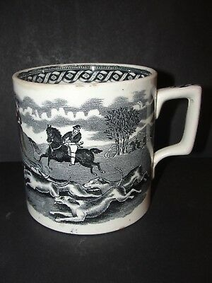Antique.victorian.pint.cider.mug.hunt Scene.tankard.#v1