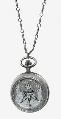 Disney The Nightmare Before Christmas Jack Snow globe Pocket Watch Necklace NWT