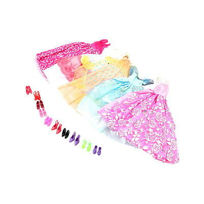 5Pcs Handmade Princess Party Gown Dresses Clothes 10 Shoes For Barbie doll ZNHF