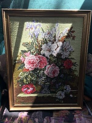 Hand-Embroidered Flower Picture  Professionally Framed
