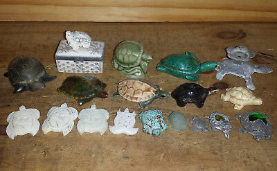 Lot of Small Turtle Figurines and Container