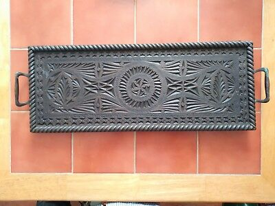 Tramp Art Styled Tea tray with copper or bronze handles.