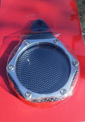 Tax Disc Holder, Hexagon Motorbike disc holder. Carbon look/Chrome New old stock
