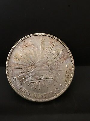 1908  Mexico 8 Real Silver Coin XF Plus to AU