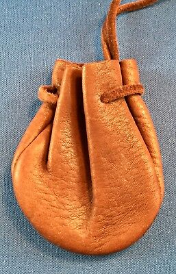 """Small Drawstring Pouch, Brown Leather, Coin Dice, Renaissance, Medieval, 3"""""""
