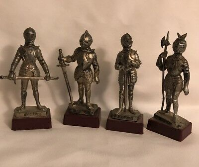 "Vtg Depose Italy Lot of 4-4""Tall Suit of Armor Figurine Spider Mark plastic base"