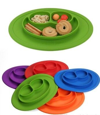 Baby Silicone Tableware Non Slip Anti Through Place mat Food Bowl Dish Plate