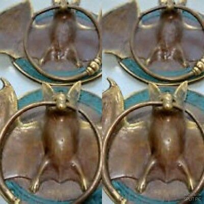"""4 aged Door Knocker BAT ring old heavy front SOLID BRASS vintage style 7"""" B"""