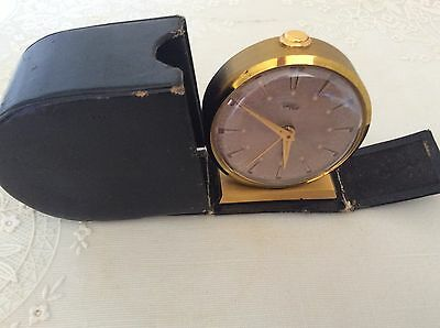 Vintage, Unique IMHOF Swiss Alarm Clock With Folder For Parts/Service/or Repair