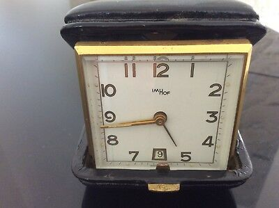 Vintage Swiss Imhof Wind Up Travel Alarm Clock With Date Rare Model!