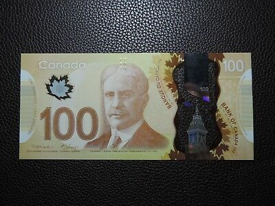2011 $100 Dollar Bank of Canada Banknote Radar Bill FKF7826287 Polymer Gem UNC
