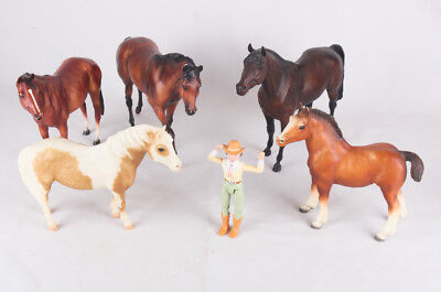 Breyer Lot of 6, Horses and Cowgirl, Bay, Palomino, Chestnut, Yearlings and more