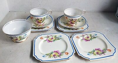 9 Vintage Pieces Aynsley Bone China, 2 Trios, 2 Cake Plates, Sugar Bowl (7294)