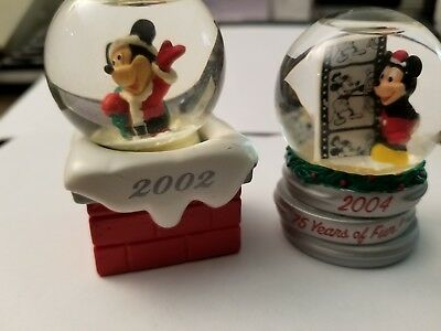 Disney JCPenney Mickey Mouse Xmas Snow Globes 2002 & 2004
