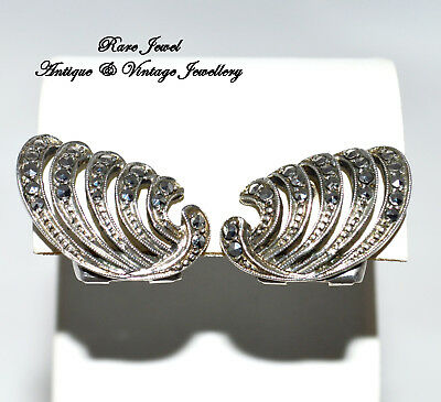 Vintage Jewellery Art Deco Solid Silver Earrings Lovely Marcasite Clips