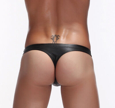 Men's New Size Leather Paul Briefs Boxer 3 Sexy G-string Underwear Mens Faux