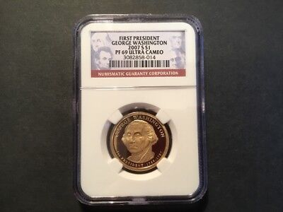 2007 George Washington Presidential dollar.  PF69 Ultra Cameo