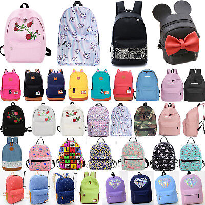 Women's Girl Canvas School Backpack Shoulder Book Bag Travel Rucksack Satchel AU