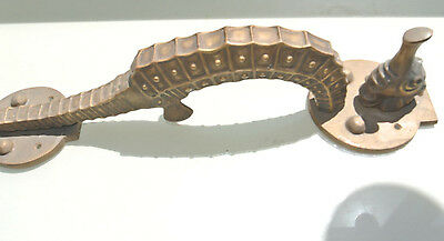 """huge 17"""" Solid Brass aged finish heavy SEAHORSE Door HANDLE PULL B"""