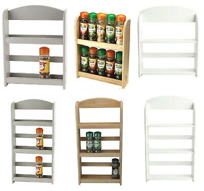 BAMBOO WOOD 2 or 3 TIER SPICE HERBS JARS RACK HOLDER STAND NATURAL WALL MOUNTED