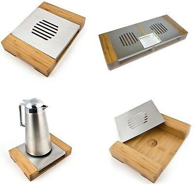 Bamboo Single Double Food Dish Warmer Chafing Stainless Steel Burner Heat Warm