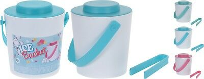 1 Litre Double Walled Plastic Insulated Ice Bucket Cooler with Lid and Tongs
