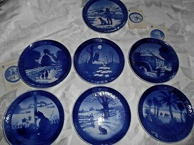 Lot of 7 Royal Copenhagen Porcelain Plates 1970, '71, '72, '73, '74, '76, & '77