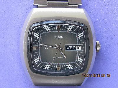 Vintage   Elgin     Day--Date     Automatic  Swiss  Made    Man  Wrist   Watch