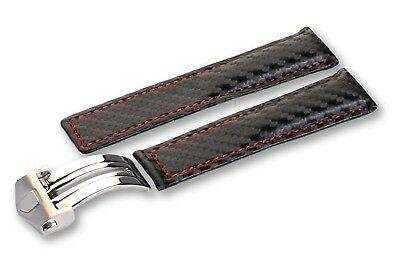 Black Carbon Leather Strap/Band for Tag Heuer Watch Clasp 20mm 22mm 24mm + Pins