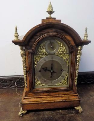 winterhalder & hoffmeir triple fusee oak cased smaller 8 bells bracket clock