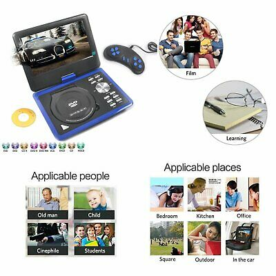 Blue Portable DVD Player With Rechargeable Battery Multi-Region 300 Game Disc UK