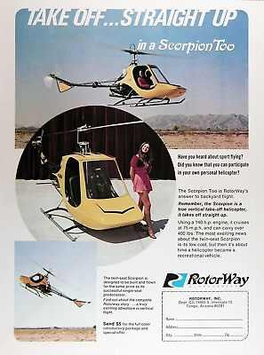 1972 ROTOR WAY Scorpion Personal HELICOPTER Genuine Vintage Advertisement