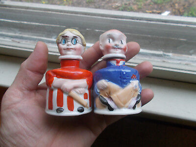 Pair Of 1914 Dated Ma & Pa Carter's Inx Bottles Ceramic Ink Well Pair