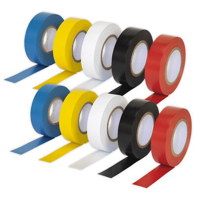 10 x Sealey PVC Insulating Electrical Tape Rolls 19mm x 20mtr Mixed Colours