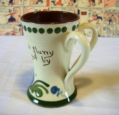 TORQUAY Motto  WARE 2 x handle mug cup Do not hurry Nothing good is got by worry