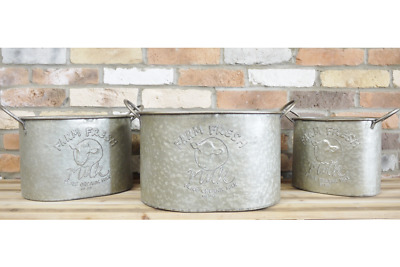 Large Vintage Galvanised Metal Planters  Bath Milk Tubs Plant Flower Pot Garden