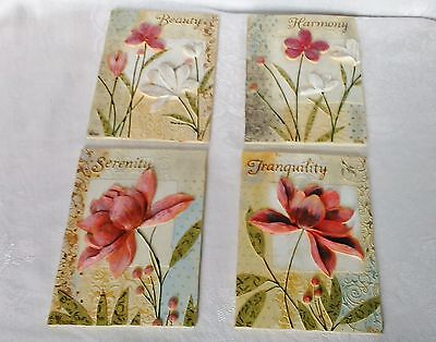 "Set of 4 Floral Plaques 3 Dimensional Wall Plaque Size 6 1/2"" x 4 3/4"""