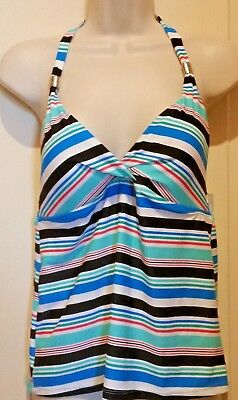 b2e93abcd3ac4 Jaclyn Smith Womens Halter Tankini Swim Top Size 6 White Black Blue Striped  New