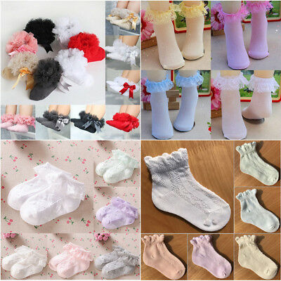 Baby Girls Ankle Short Princess Socks Cotton Lace Frilly Ruffle Big Bow