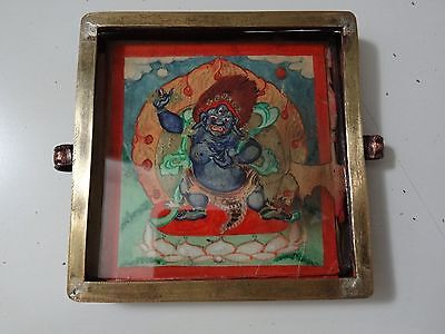 Antique  Mongolian Buddhist Copper / Brass  Gau Pendant With Thamgka Of  Deity