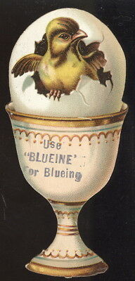 Old Ie Cut Egg Cup, Egg & Chick Tc Advertising Blueine For Blueing