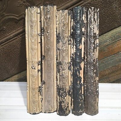 "5pc Lot of 24"" by 3.5"" Antique Ceiling Tin Vintage Reclaimed Salvage Art Craft"