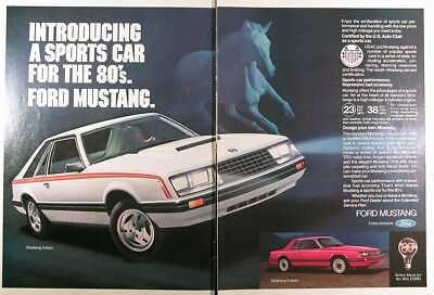 1980 FORD MUSTANG Genuine Vintage Advertisement ~ DOUBLE Page Ad