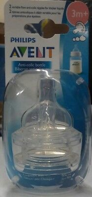 Philips AVENT Anti-Colic Nipple, Clear, Variable Flow