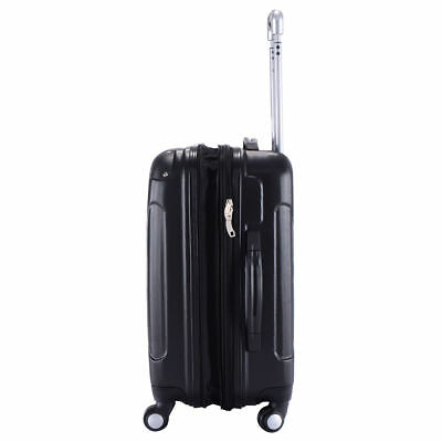 Black Hard Shell Expanding Carry On Travel Bag Suitcase Luggage Spinner Trolley