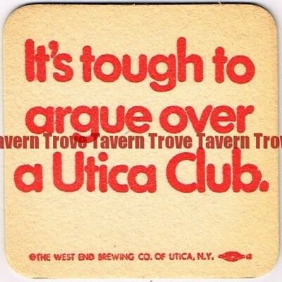 """1970s New York UTICA CLUB BEER """"Tough To Argue Over"""" 3½ inch Coaster"""