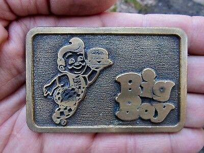 Vtg BOB'S BIG BOY Belt Buckle SIGN Hamburger Restaurant Diner Brass RARE VG++