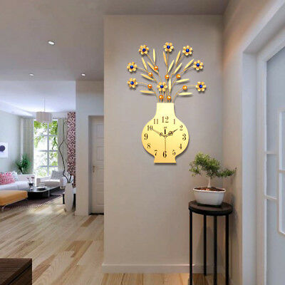 Iron Art Flower Vase Wall Clock Home Living Room Kitchen Bar Decor